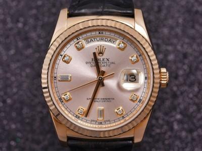 劳力士星期日历型118135粉盘镶钻腕表出售,回收二手劳力士手表
